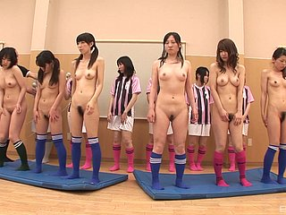 Ribbon of Japanese cuties near trimmed or prudish pussies masturbating