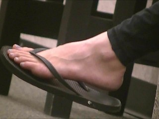 Titillating brunette's foreign feet