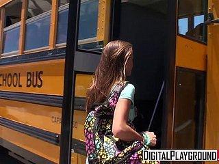 Mädchen masturbiert Schulbus